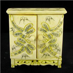 Chinese Handcarved Bone Double Gem Box (CLB-848)