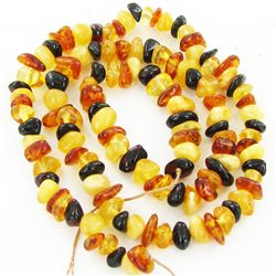 "40twc Natural Amber Small Bead Strand 16"" (JEW-2999)"