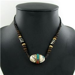 Tibet Shell Agate Bead Choker Necklace (JEW-3189)