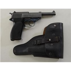 "Walther Model P1 DA semi-auto pistol, 9mm  cal., 5"" barrel, military parkerized slide  and barrel wi"