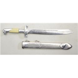 "German nazi RAD Officer's Dagger and sheath  approx. 15"" overall with blade marked ""P.D.  Luneschlos"