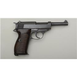 Walther Model HP semi-auto pistol, import  marked, 9mm cal., 5 barrel, black finish,  grooved brown