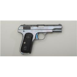 "Colt Model 1903 semi-auto pistol, .32 cal.,  3-3/4"" barrel, high polish blue finish, early  checkere"