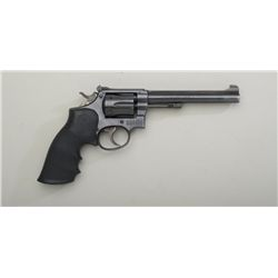 "Smith & Wesson five screw hand ejector DA  revolver, .22LR cal., 6"" barrel, blue finish,  Hogue Mono"