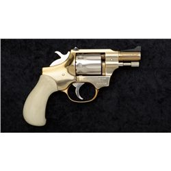 High Standard Model R-101 DA revolver, .22  cal., gold and nickel finish with faux ivory  grips, #74