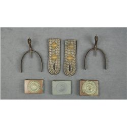 Lot of WW I German Officer's accessories  including a pair of spurs, a pair of shoulder  board epaul