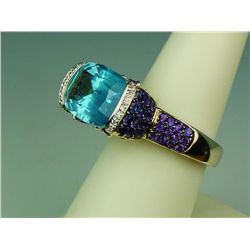 Fashionable 14 karat yellow gold ladies  custom made 'BULGARI' inspired design ring  fine set with a