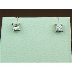 Brilliant 14 karat white ladies diamond stud  earrings set with two matching Princess cut  diamonds