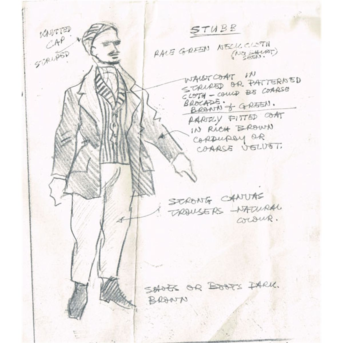 1961: Moby Dick costume design sketches and notes by Alpho O\'Reilly