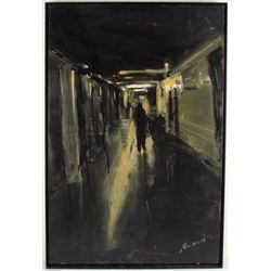 CORTINES Oil Painting Signed Solitary Figure At Night