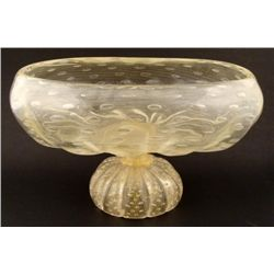 Cellini Large Art Glass Vase Vessel Clear, Gold-Donghia