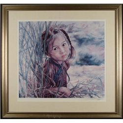 Wai Ming Signed Chinese Art Print Young Girl Framed