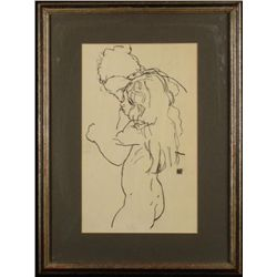 Egon Schiele Art Print Nude Framed Mother & Child