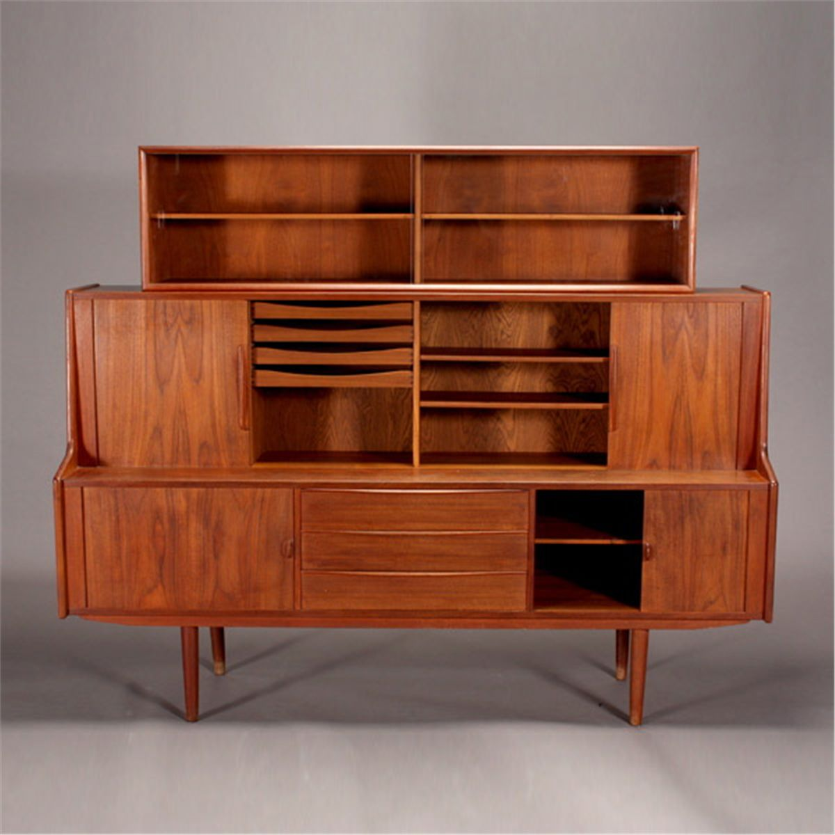Danish Modern Teak Two Piece China Hutch
