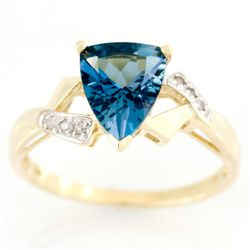 1.61ct London Blue Topaz & Diamond 9K Gold Ring (JEW-9182X)