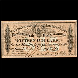 1864 Confederate $15 Bond Coupon RARE Hi Grade (CUR-06004)