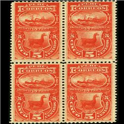 1874 Peru 5c Postage Due Block of 4 (STM-0517)