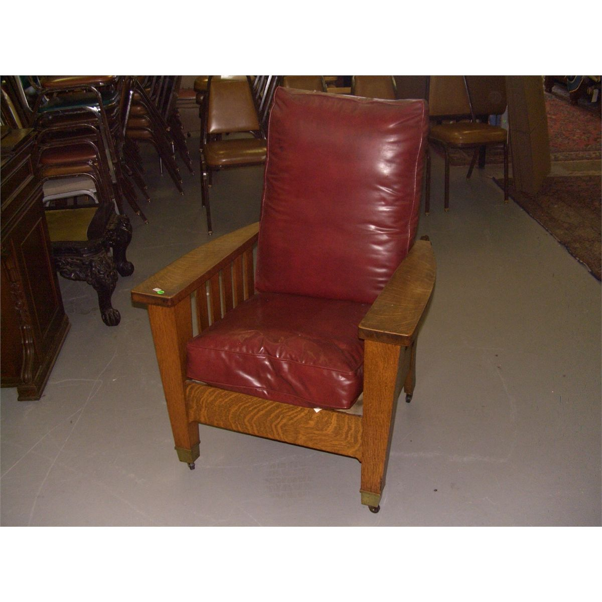 Mission chair leather - Original Oak Arts And Crafts Mission Morris Chair With Small Piece Label Br Barber Brothers Ssr