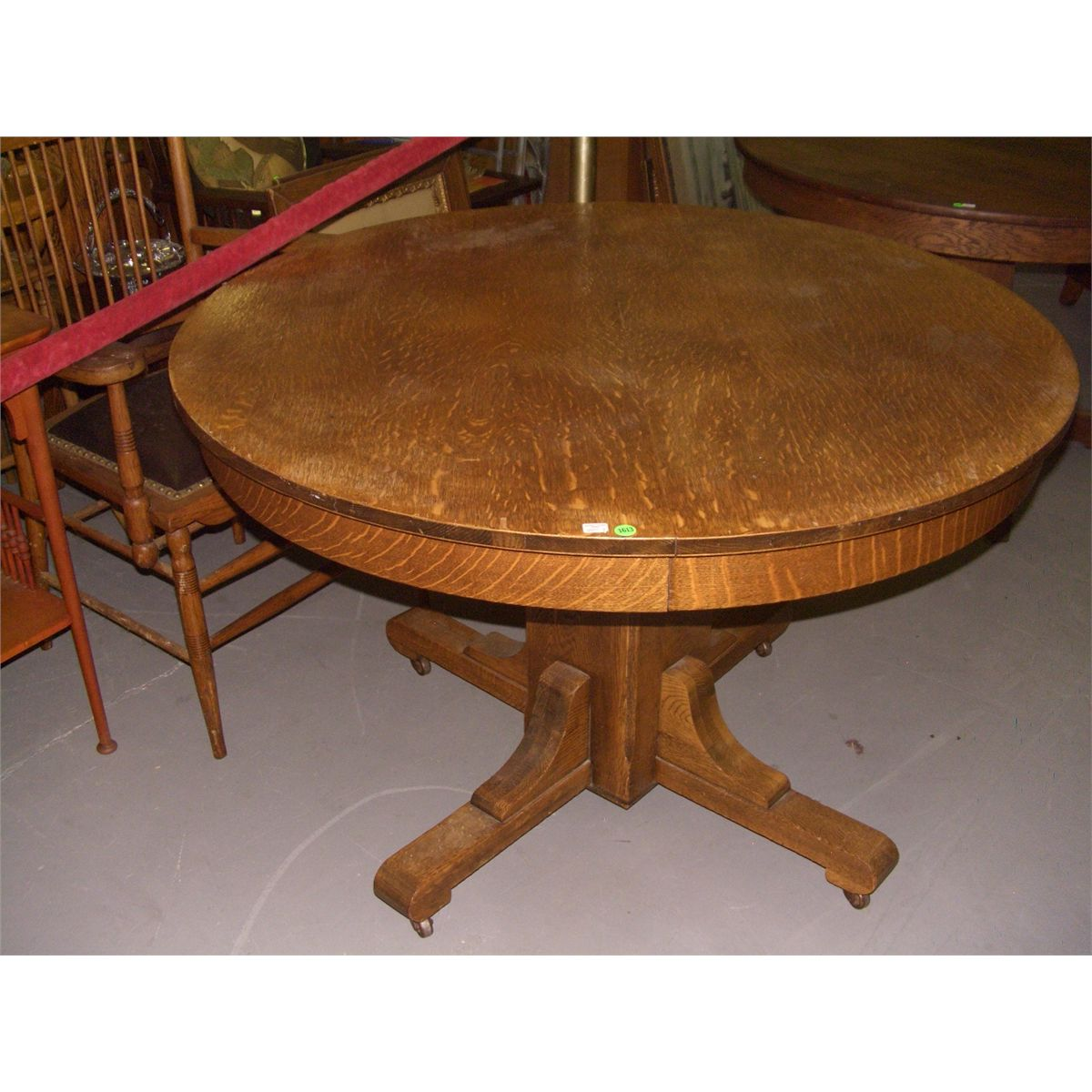 Original oak arts and crafts mission dining table ssr for Arts and crafts style table