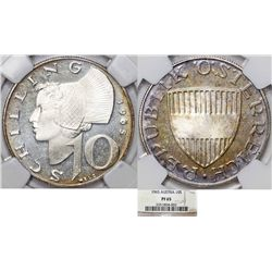 Austria. Silver 10 Schillings 1965. NGC PF65, toned Proof.