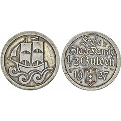 Free City of Danzig. Scarce Silver 1/2 Gulden 1927. Choice XF, toned, scarce.