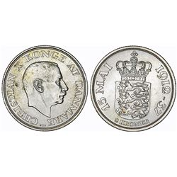 Denmark. Christian X (1912-1947). Silver 2 Kroner 1937. 25-years of Reign. Choice UNC.
