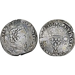 """FRANCE. Charles IX """"To effigy and to the title of Henri II"""" (1560-1574). AR Teston 1561. Fine+."""