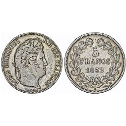 France. king Louis Philippe (1830-1848). Silver 5 Francs 1832 A. Choice VF, toned.