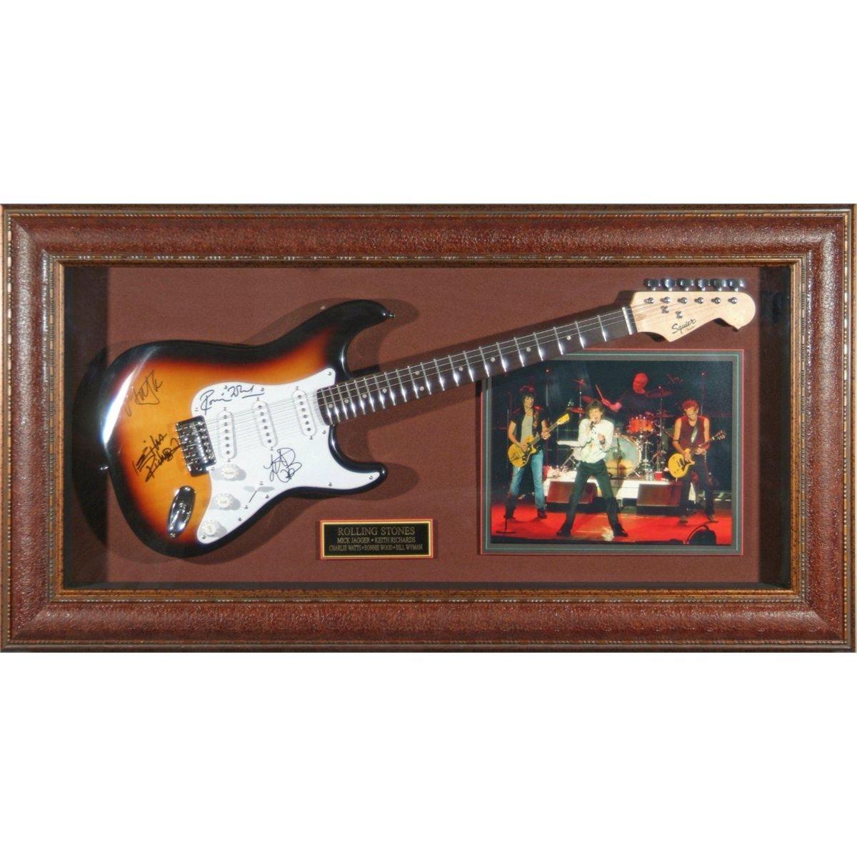 music rolling stones rolling stones autographed sunburst fender guitar the signatures of ronnie. Black Bedroom Furniture Sets. Home Design Ideas