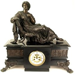 Beautiful antique French clock with black marble