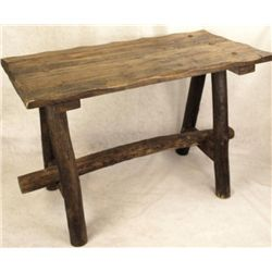 Handsome plank top ranch style table