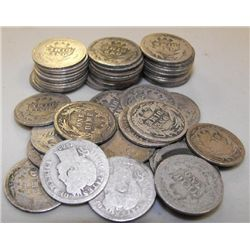 Roll of Circulated Barber Dimes- 1892-1916