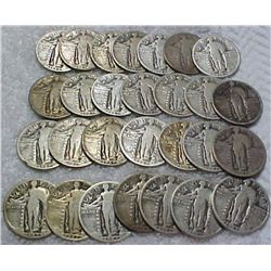 Lot of 5 Standing Liberty Quarters-