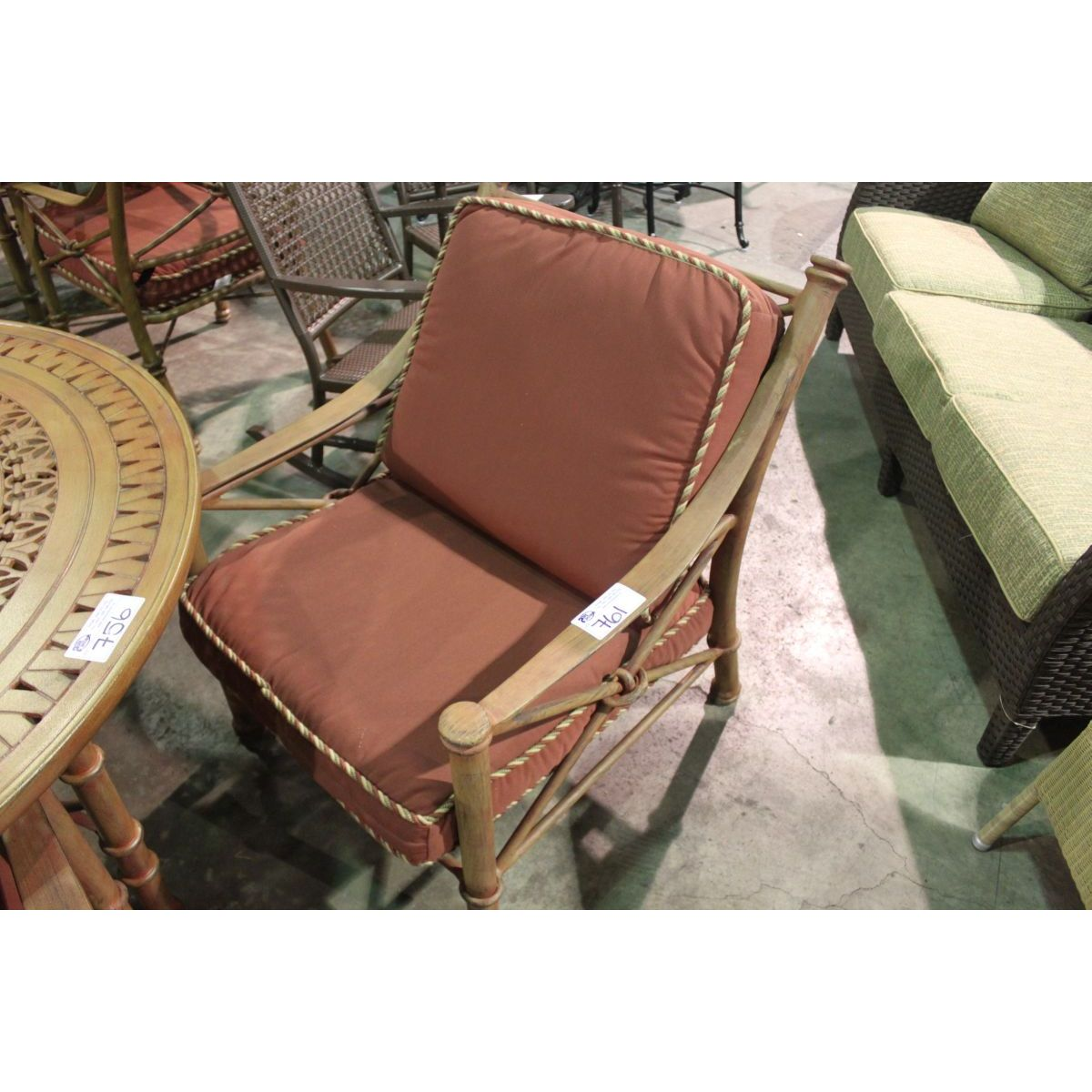 RUST COLORED KNOT STYLE LARGE SEAT DINING CHAIR