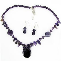 Amethyst &amp; Crystal Necklace Earring Set (JEW-3450)