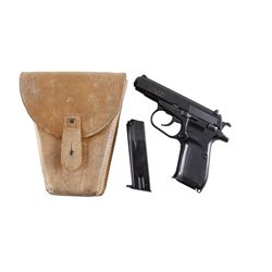 CZ Mdl 82 Cal 9x18mm SN:122449 Double action semi-auto pistol made in the Czech Republic. Black fini
