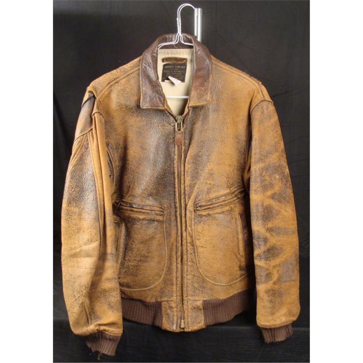 WWII G2 AAF BOMBER FLIGHT JACKET-BROWN LEATHER-SIZE -42