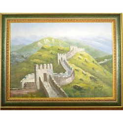 Chinese Oil on Canvas - Great Wall of China