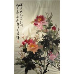 Chinese Watercolor on Paper: Peonies