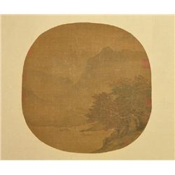 19th Century Chinese Watercolor on Silk Landscape