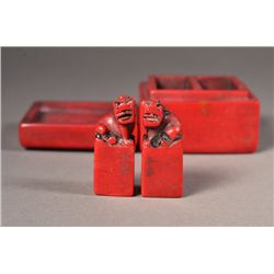 Pair Bloodstone Seals with Surmounted Fu Lion