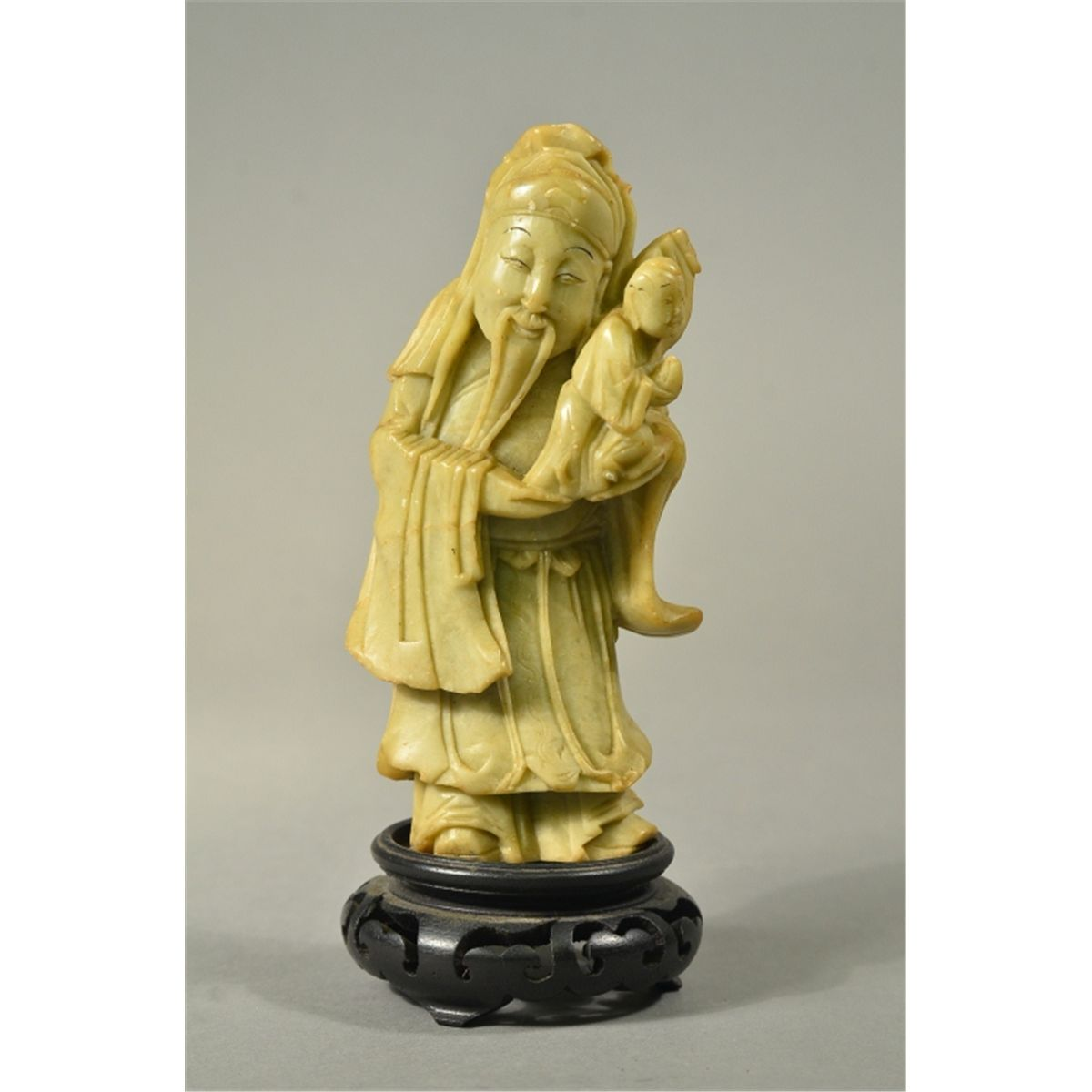 Chinese soapstone carving of man with baby