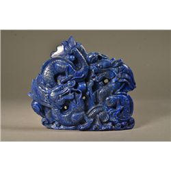 Lapis Stone Carving of Two Dragons and Pearl
