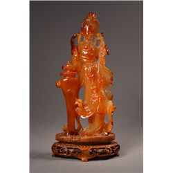 19th Century Chinese Carved Agate Guanyin