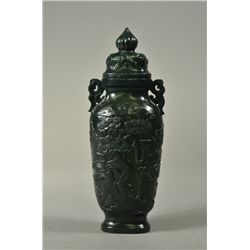 Chinese Spinach Green Jade Hu-Shaped Vase with Lid