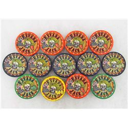 LOT OF 13 OBSOLETE NEVADA JACK SALOON AND CASINO GAMBLING POKER CHIPS