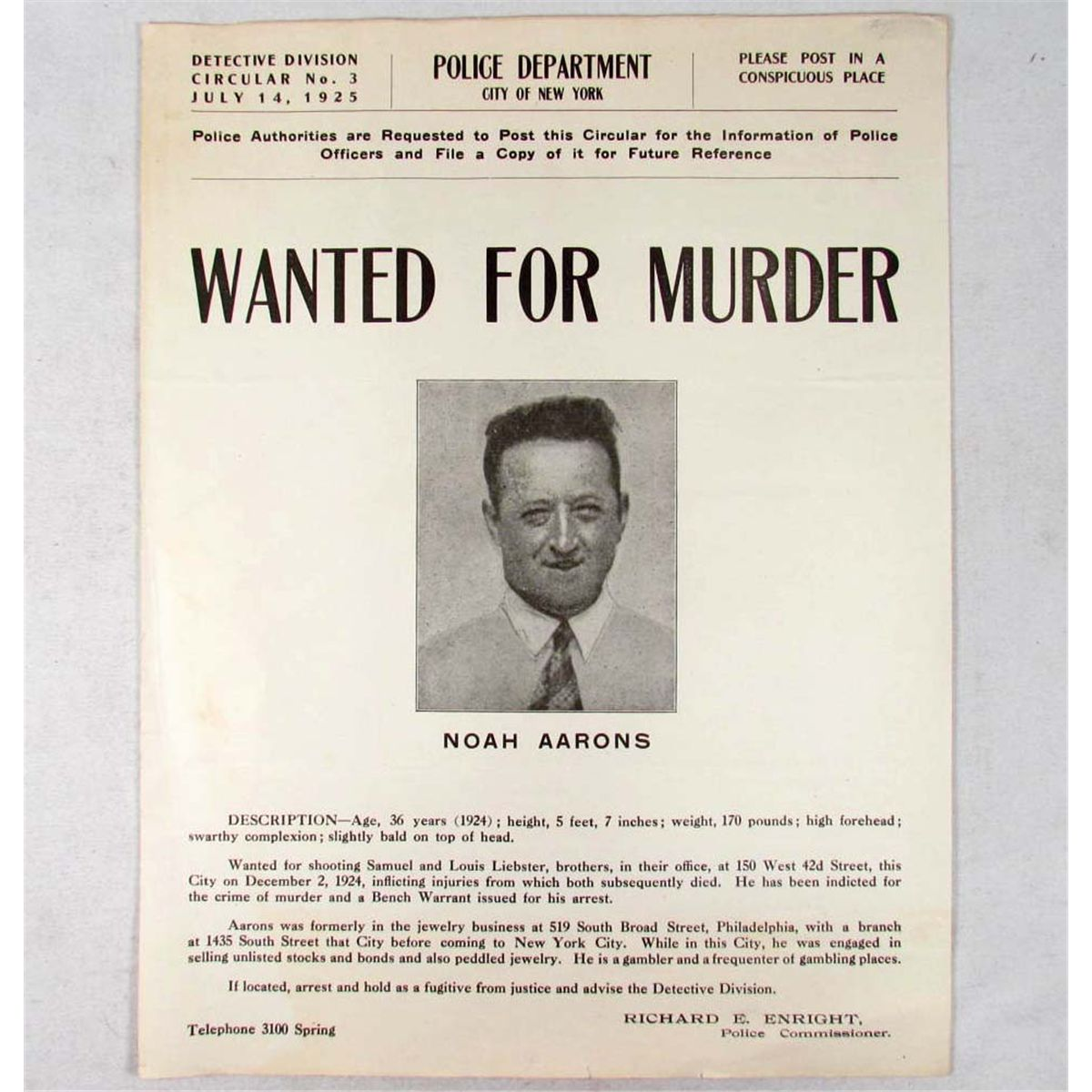 1925 WANTED POSTER MAN WANTED FOR MURDER – Real Wanted Poster