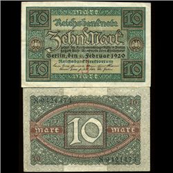 1920 Germany 10 Mark Note Hi Grade Rare (COI-3942)
