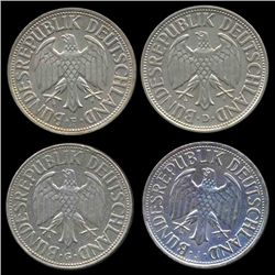 1966D/G/F/J Germany 1 Mark Hi Grade Scarce 4 Pcs (COI-8169)