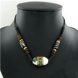 Tibet Shell Agate Bead Choker Necklace (JEW-3186)
